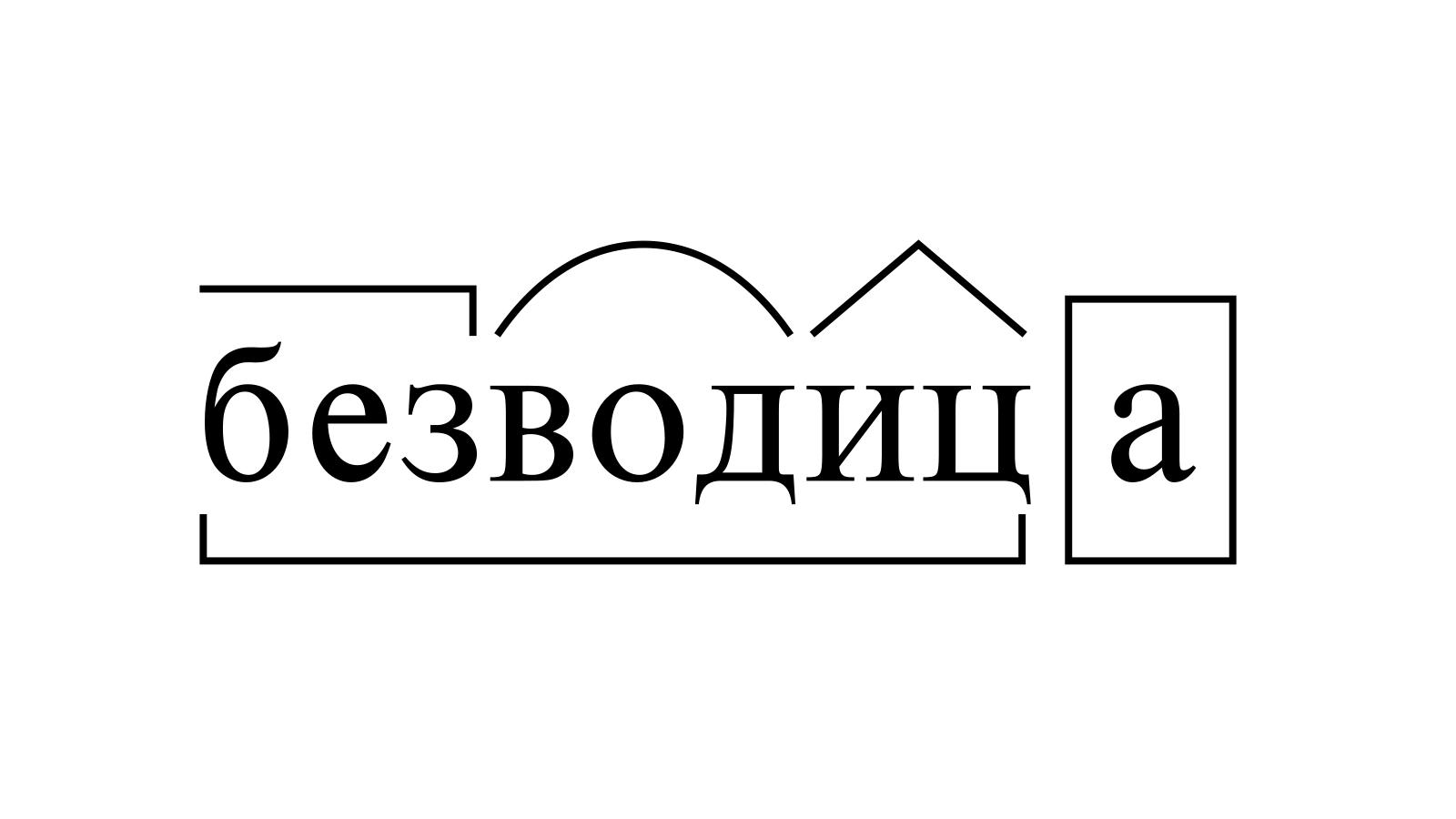 Разбор слова «безводица» по составу