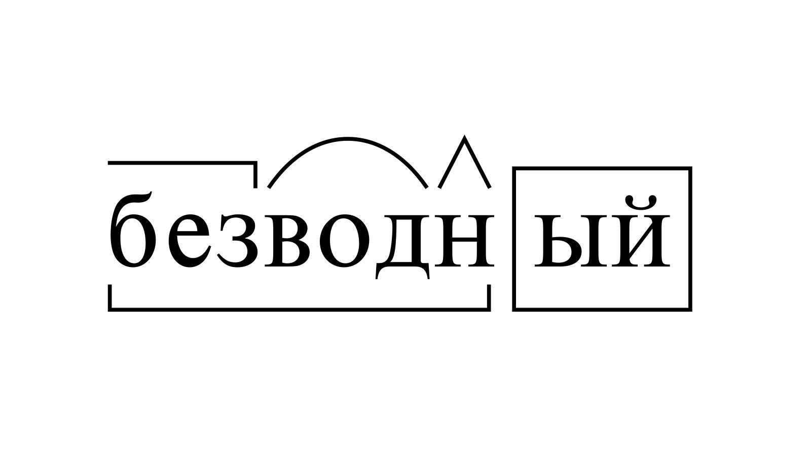 Разбор слова «безводный» по составу