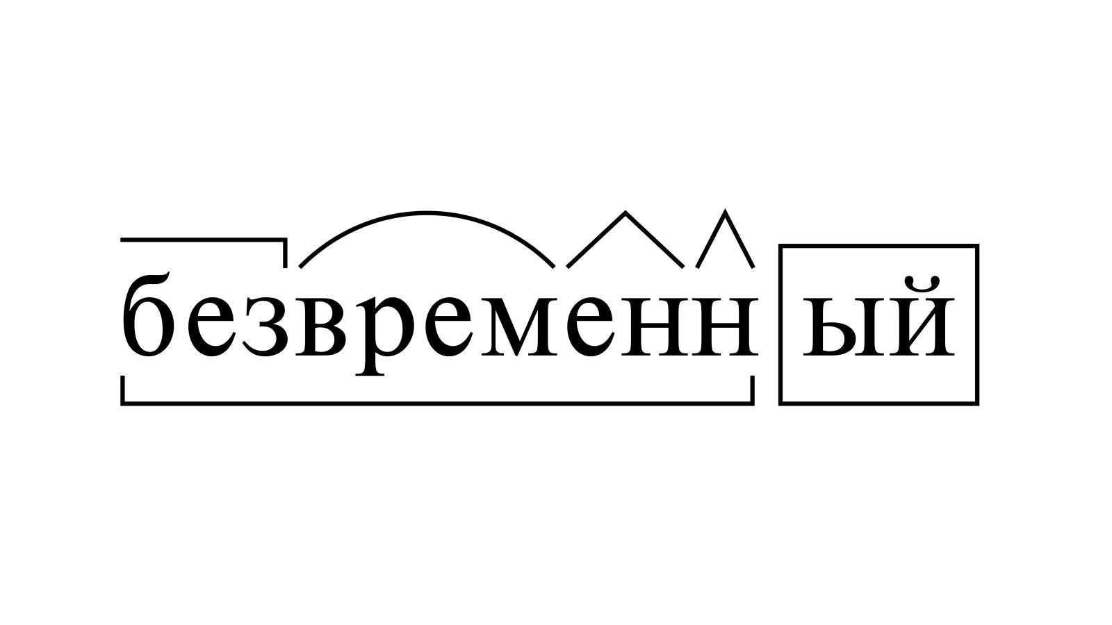 Разбор слова «безвременный» по составу
