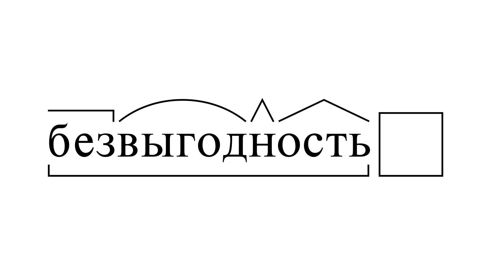 Разбор слова «безвыгодность» по составу