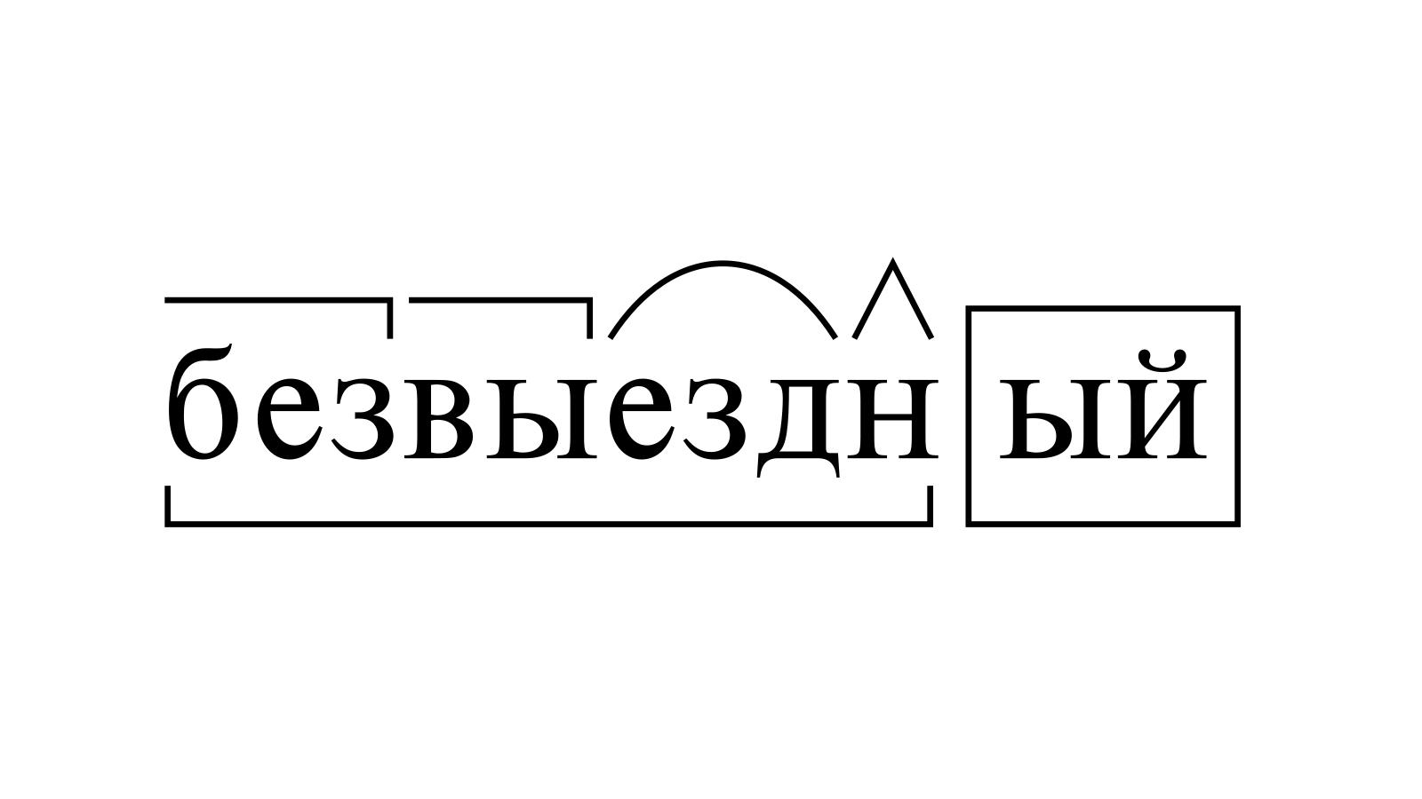 Разбор слова «безвыездный» по составу
