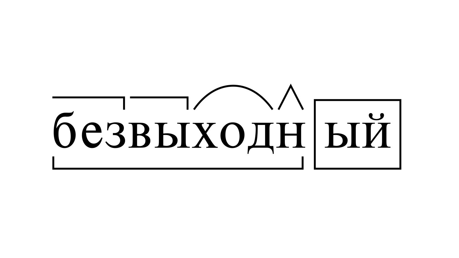 Разбор слова «безвыходный» по составу