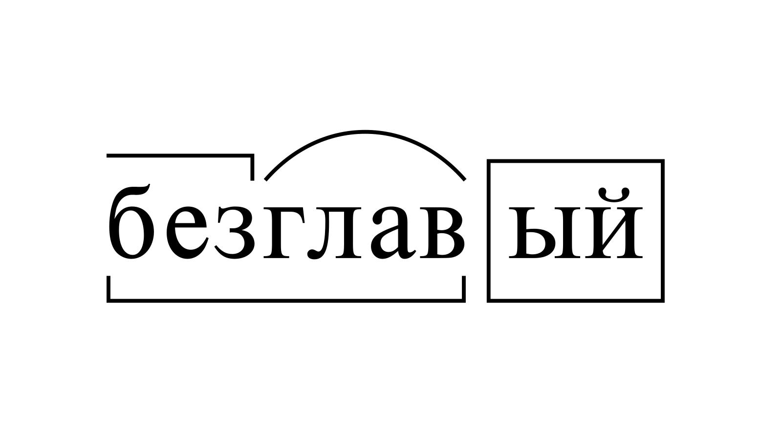 Разбор слова «безглавый» по составу