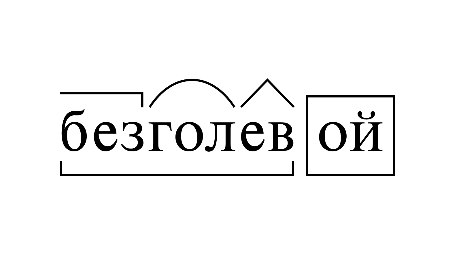 Разбор слова «безголевой» по составу