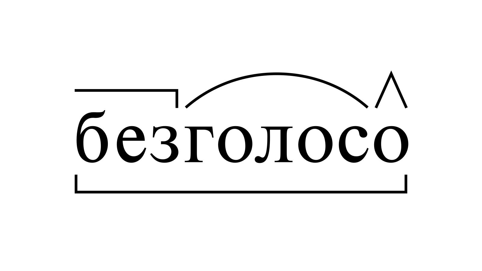 Разбор слова «безголосо» по составу