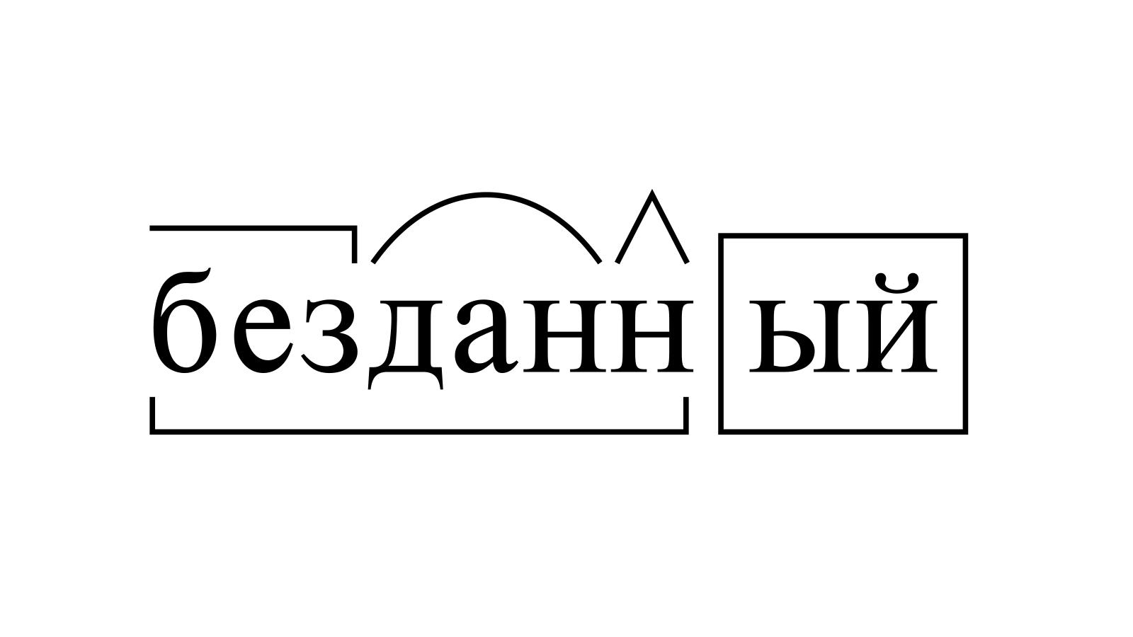 Разбор слова «безданный» по составу