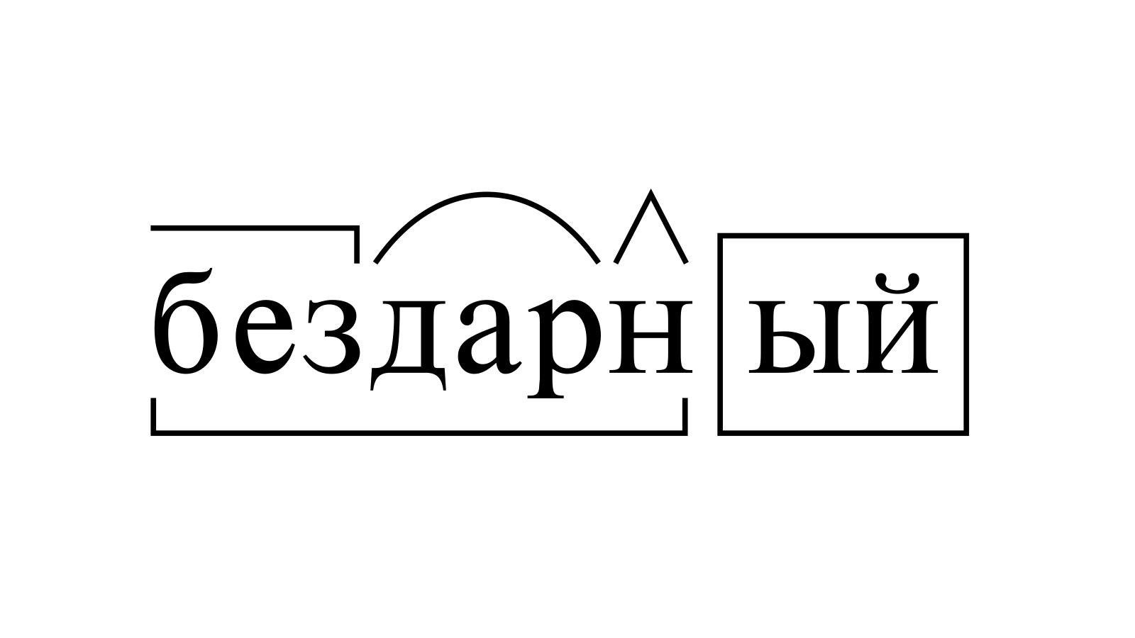 Разбор слова «бездарный» по составу