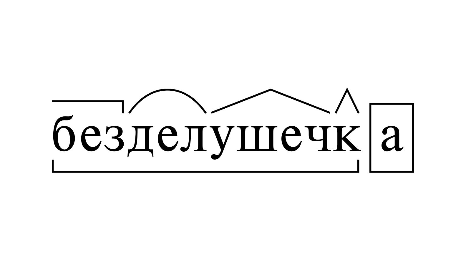 Разбор слова «безделушечка» по составу