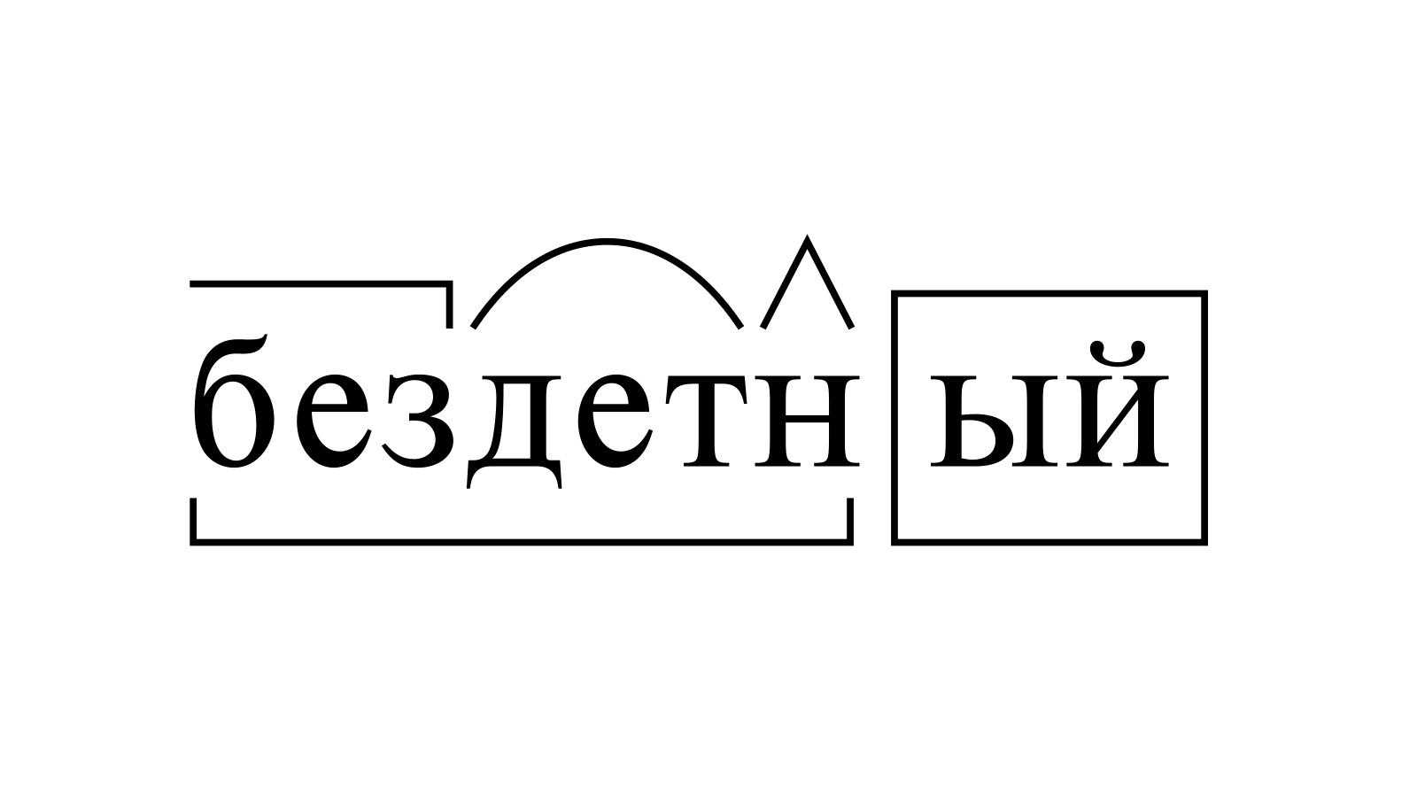 Разбор слова «бездетный» по составу