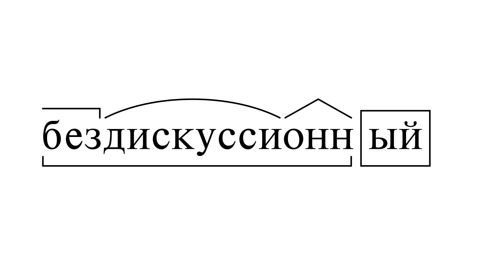Разбор слова «бездискуссионный» по составу