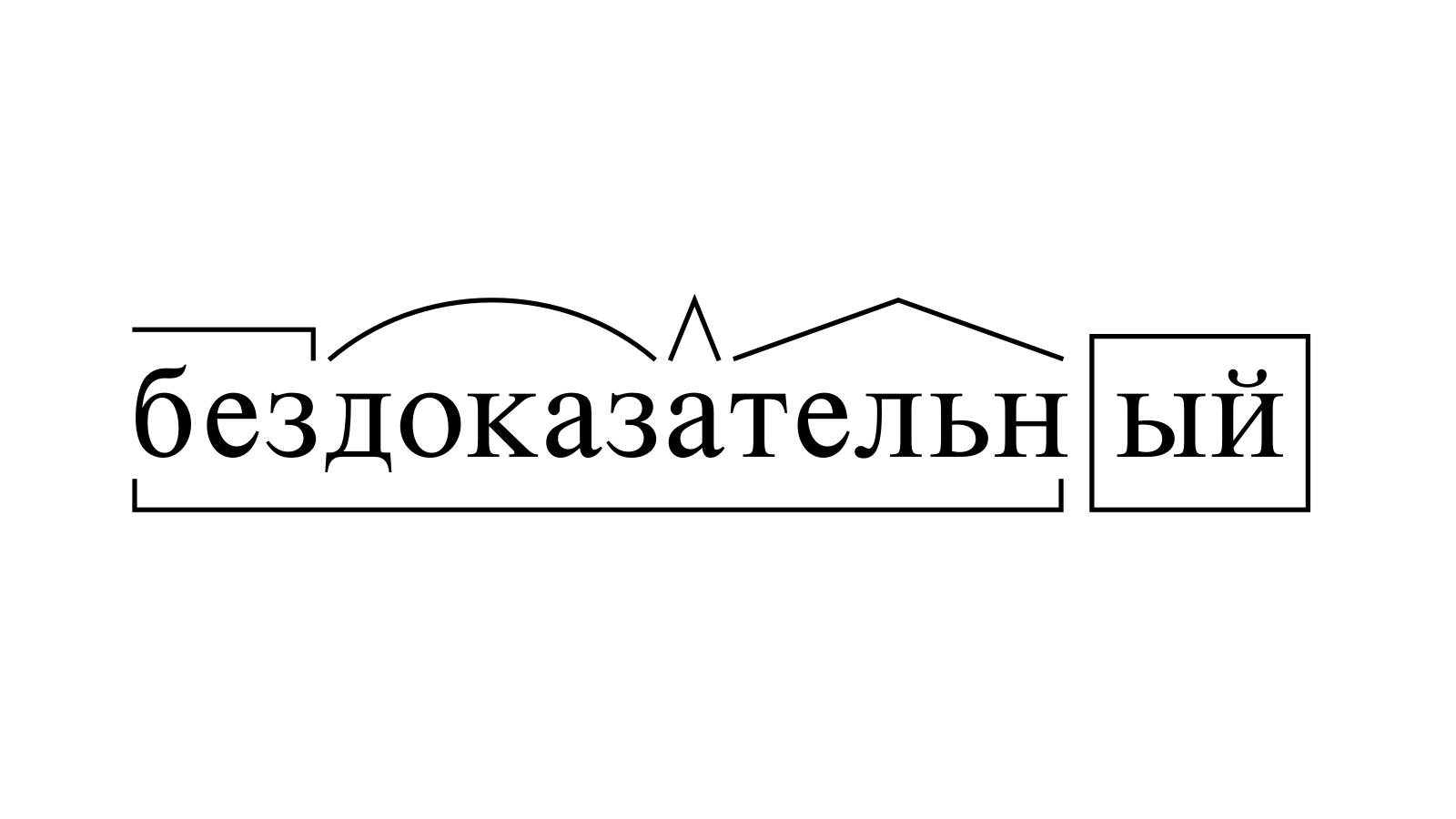 Разбор слова «бездоказательный» по составу