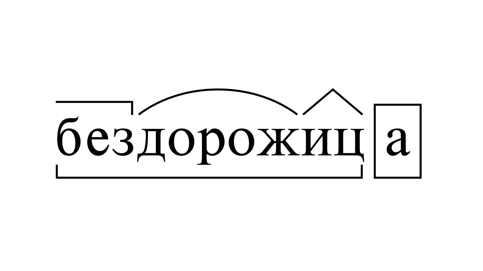 Разбор слова «бездорожица» по составу