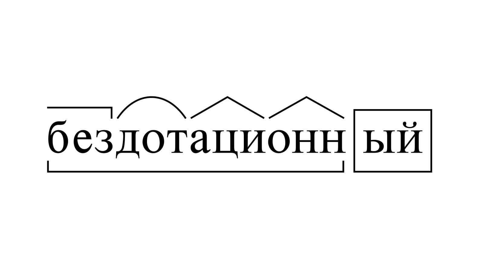 Разбор слова «бездотационный» по составу
