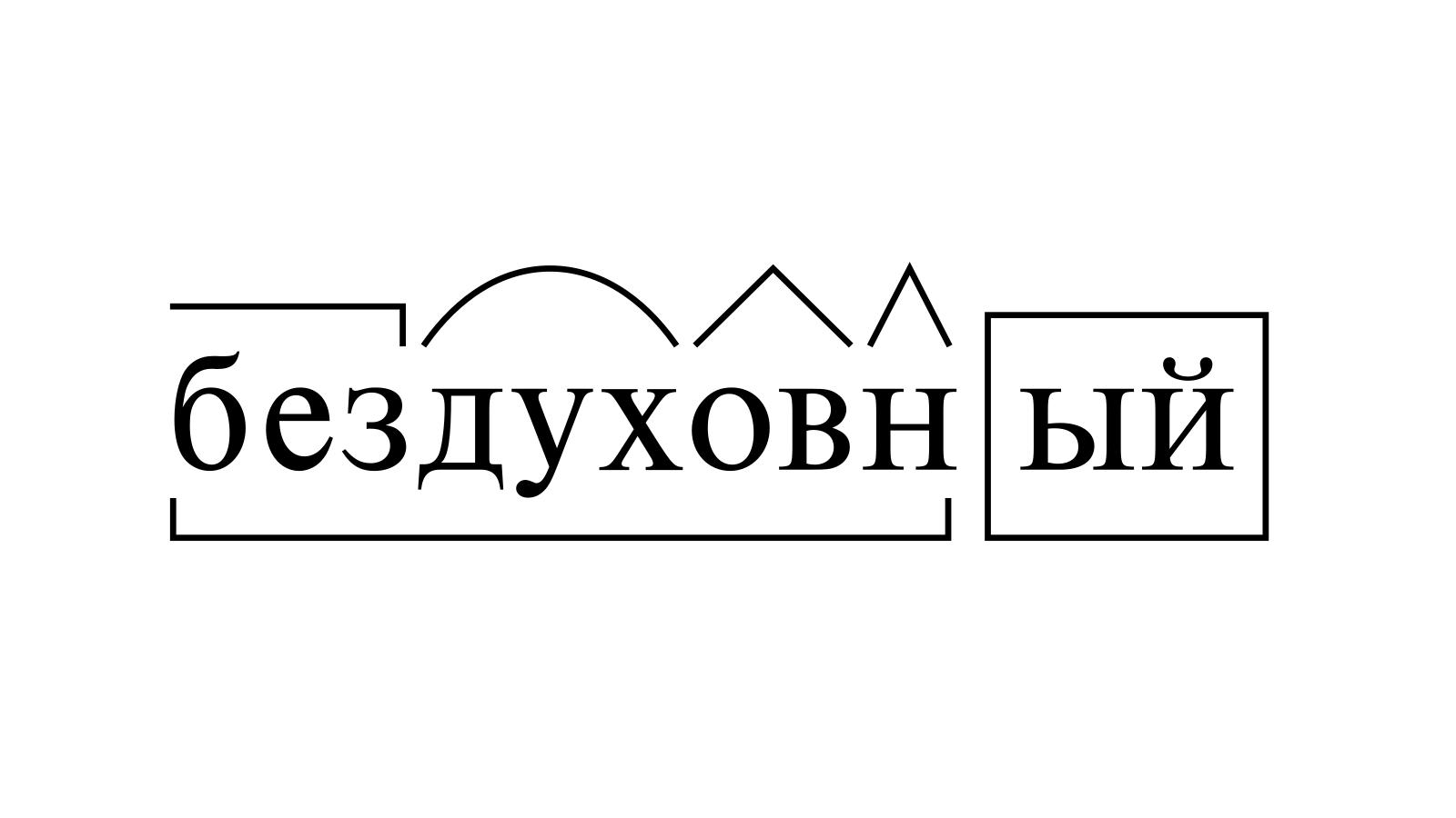 Разбор слова «бездуховный» по составу