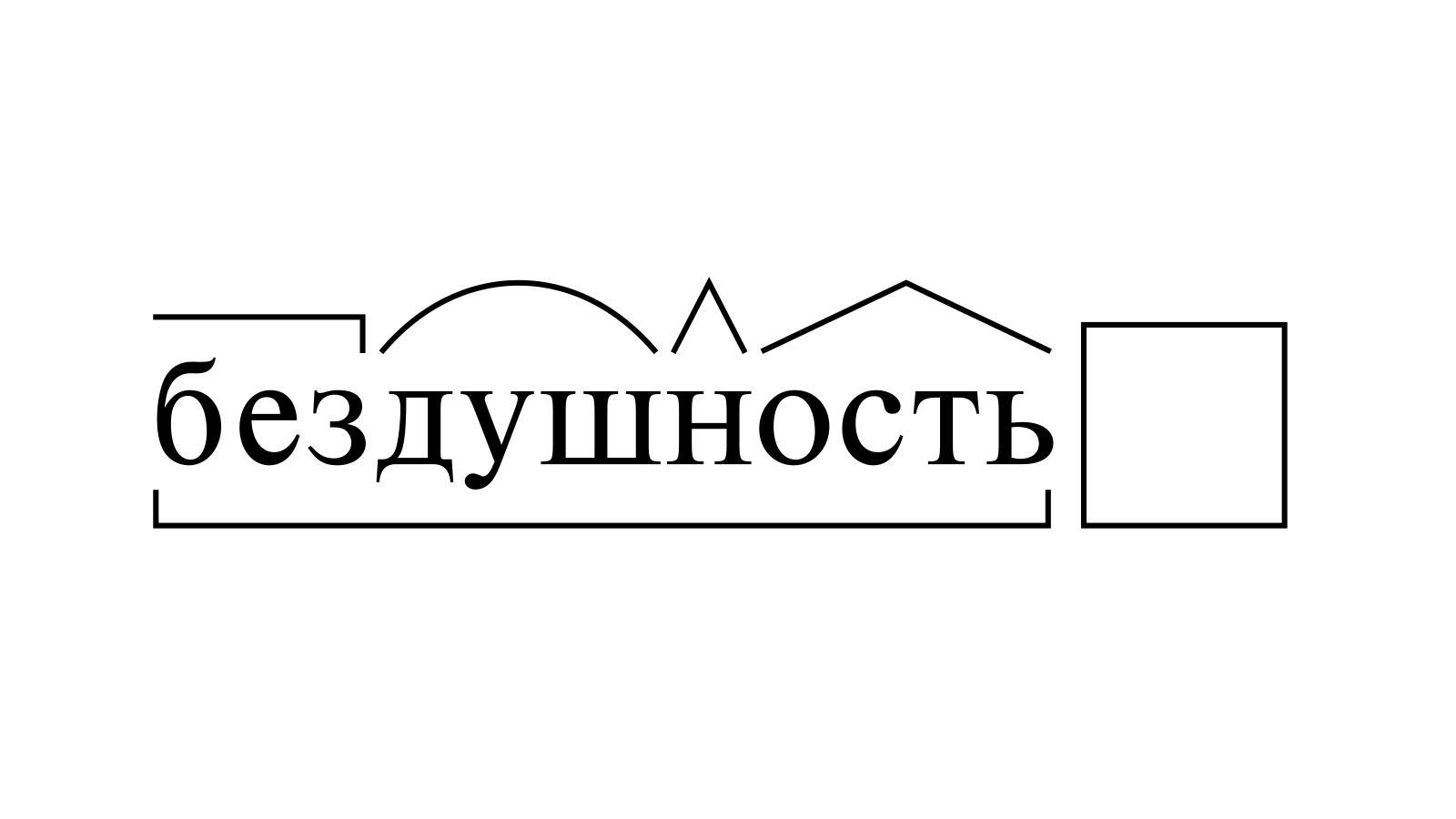 Разбор слова «бездушность» по составу