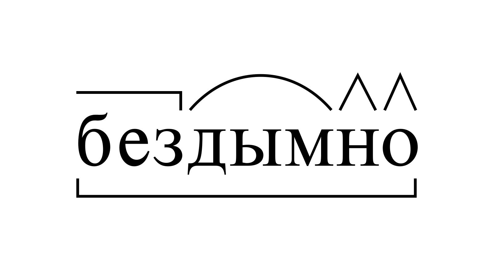 Разбор слова «бездымно» по составу