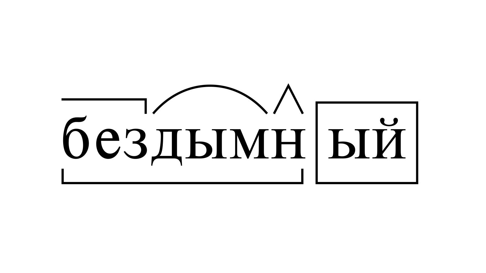 Разбор слова «бездымный» по составу