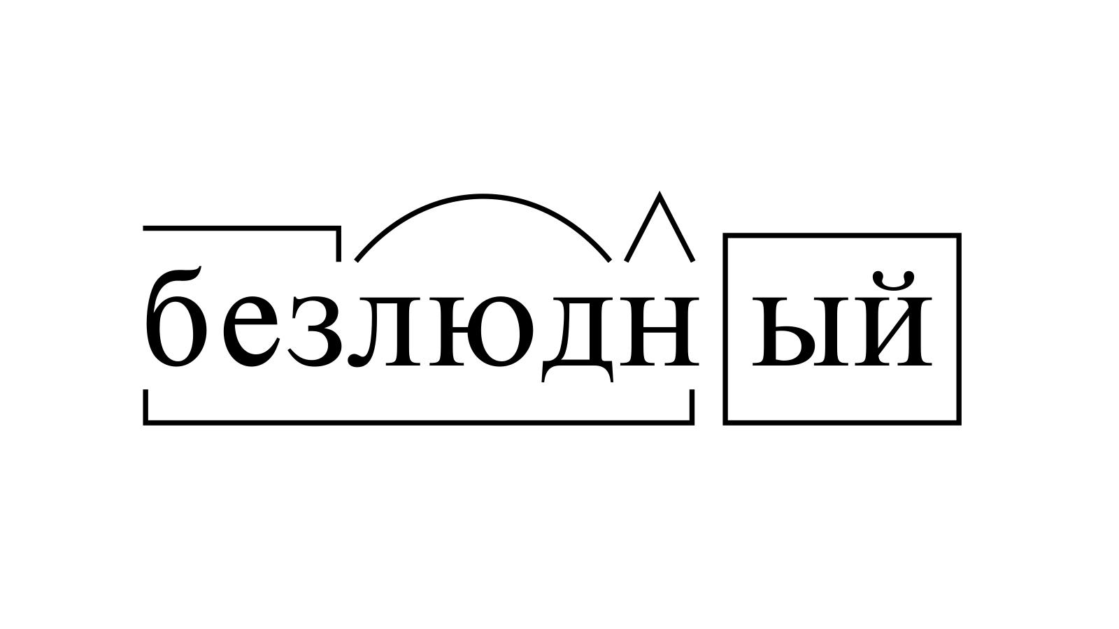 Разбор слова «безлюдный» по составу