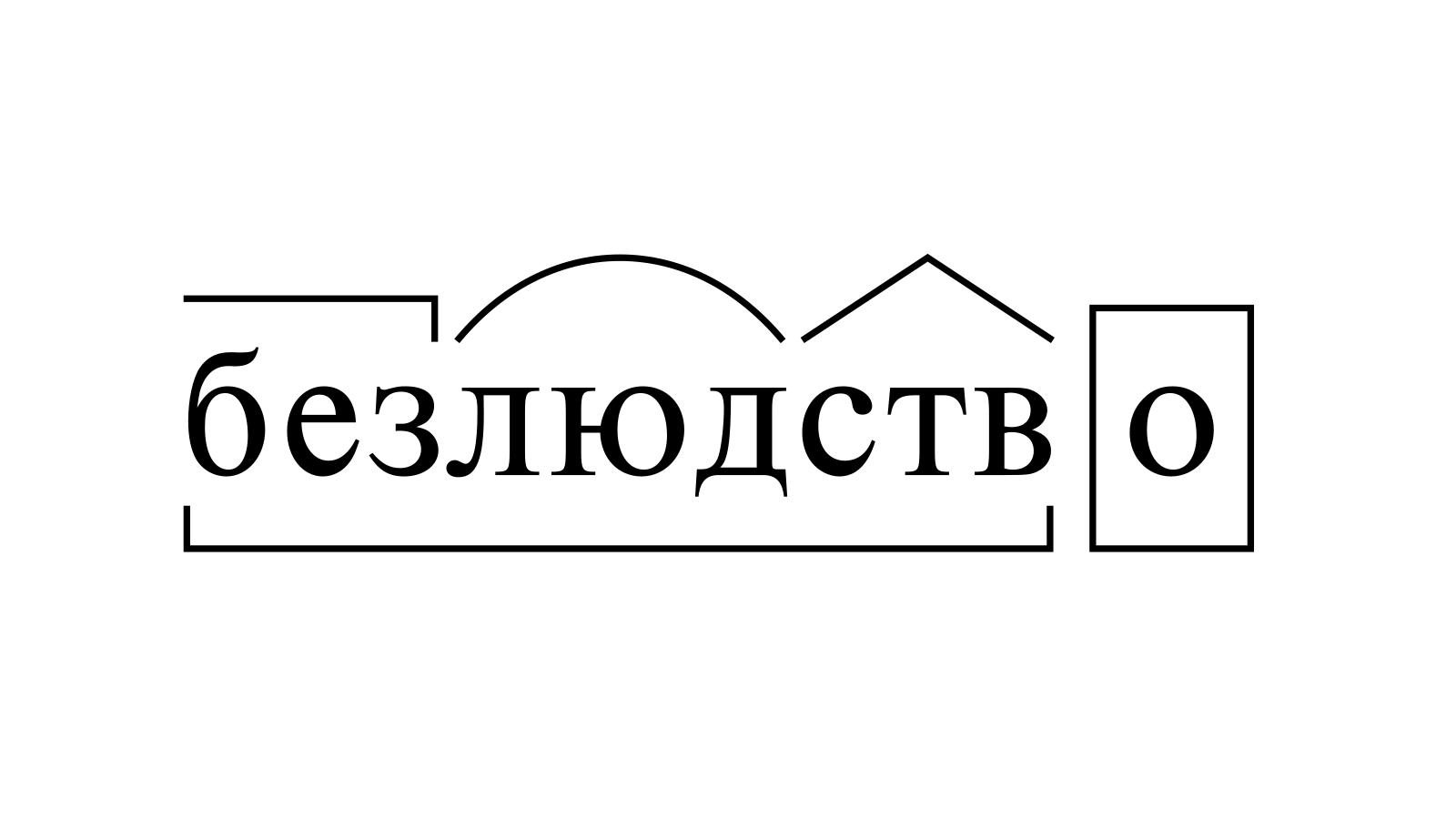 Разбор слова «безлюдство» по составу