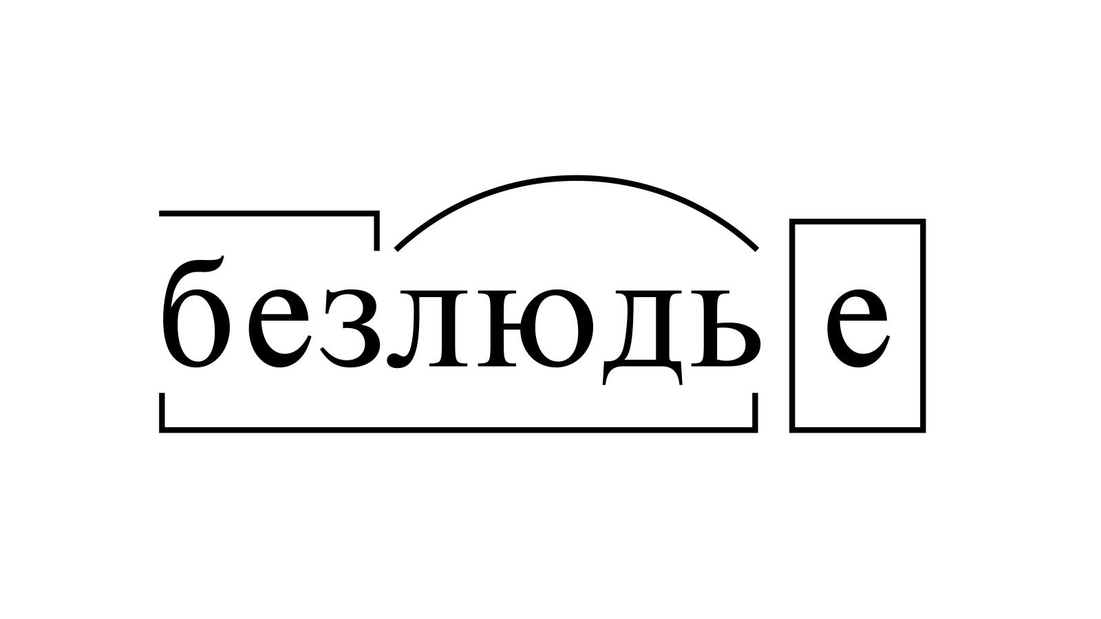 Разбор слова «безлюдье» по составу