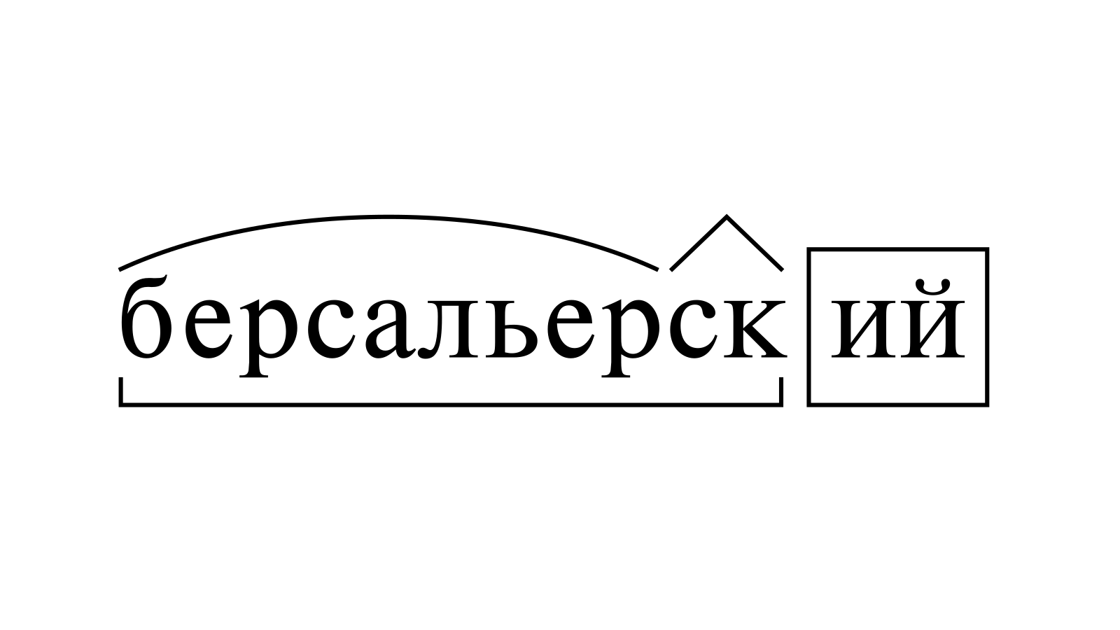 Разбор слова «берсальерский» по составу