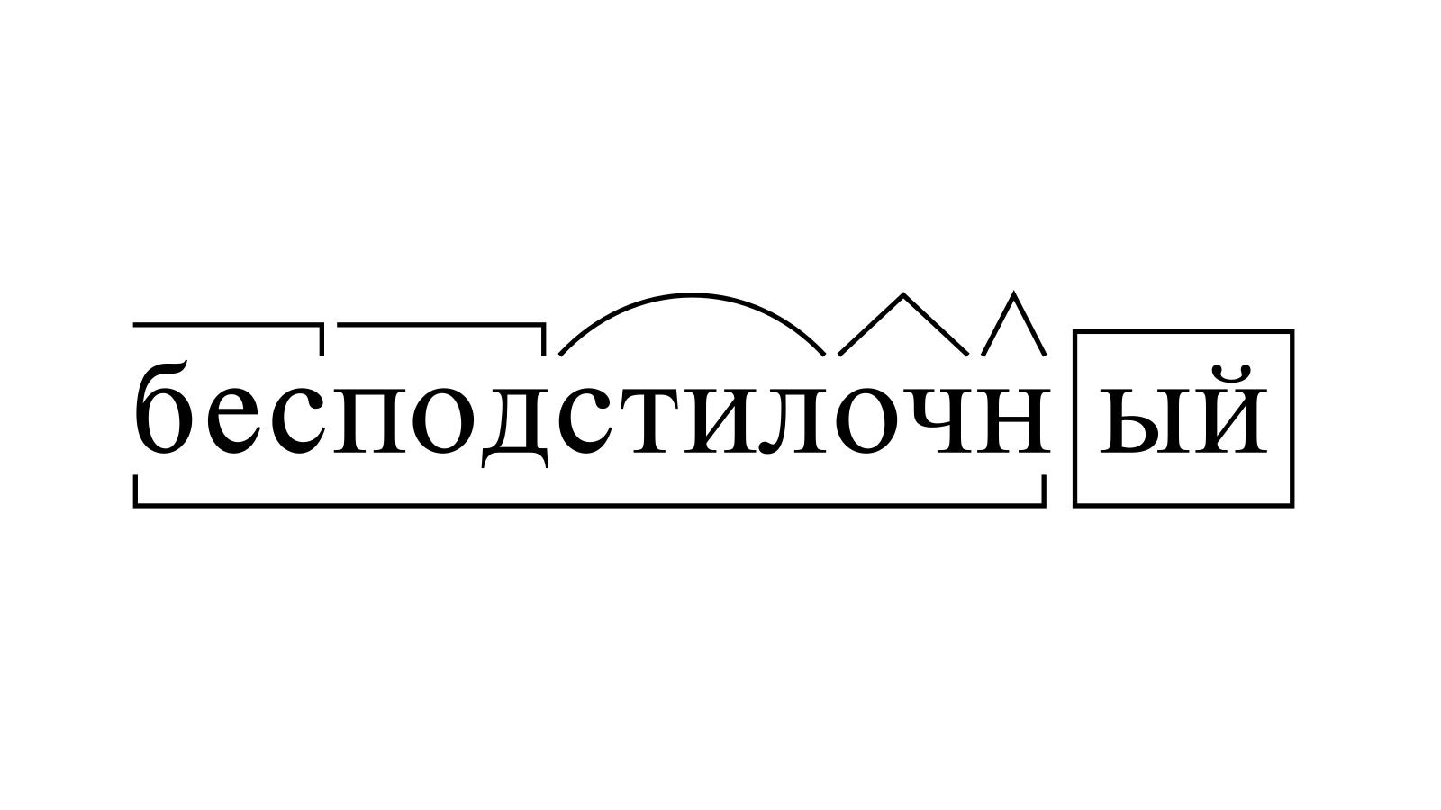 Разбор слова «бесподстилочный» по составу