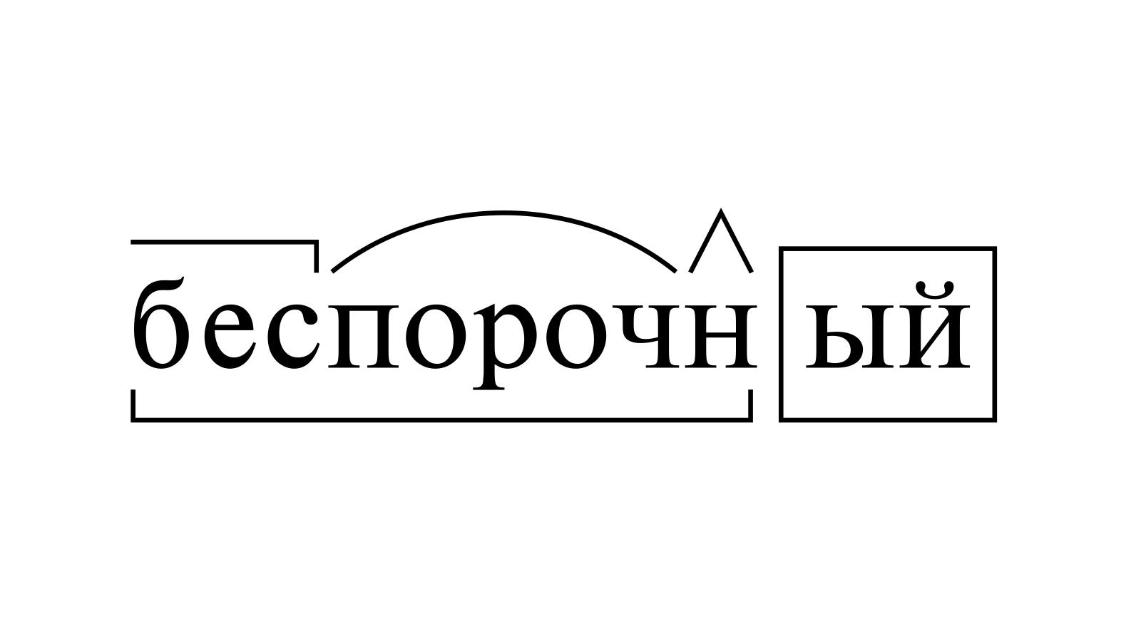 Разбор слова «беспорочный» по составу