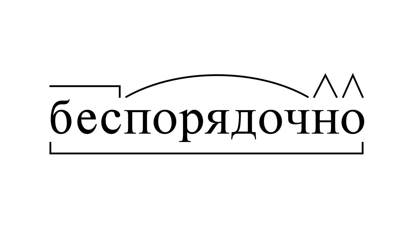 Разбор слова «беспорядочно» по составу