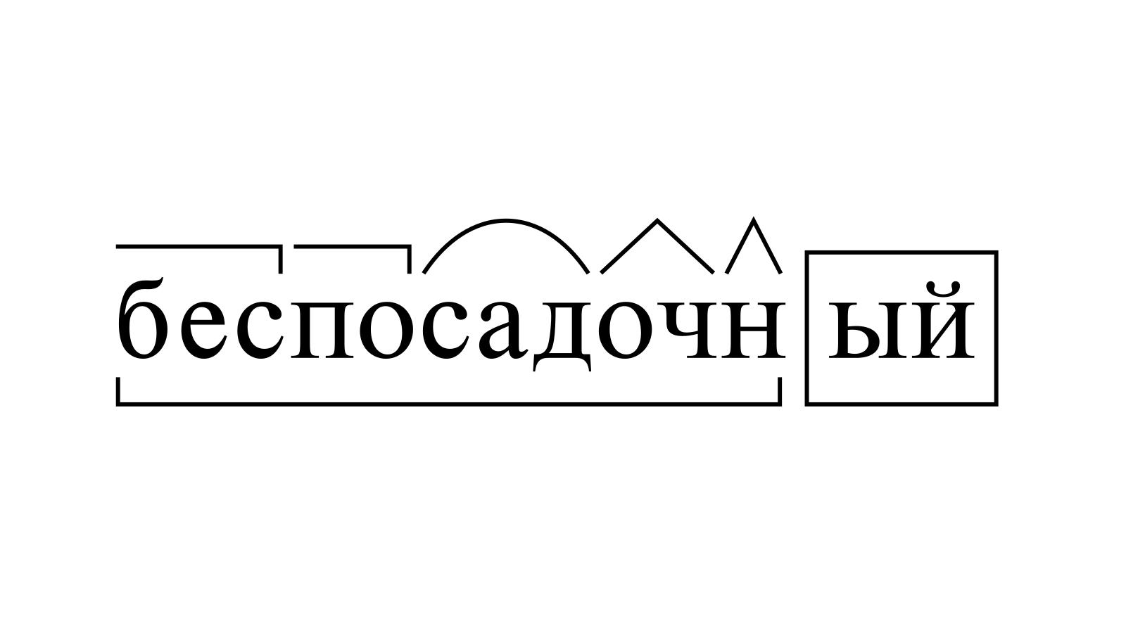 Разбор слова «беспосадочный» по составу