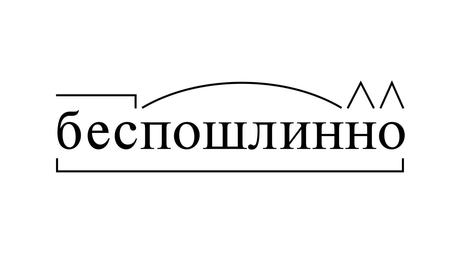 Разбор слова «беспошлинно» по составу