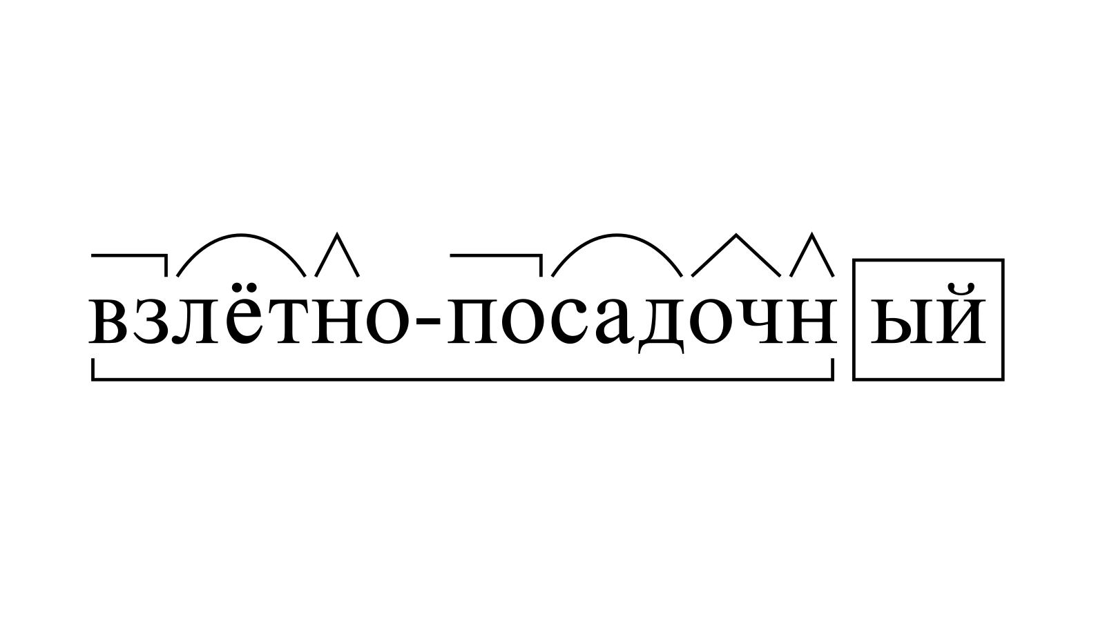 Разбор слова «взлётно-посадочный» по составу