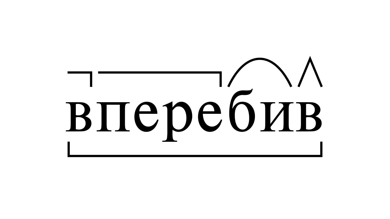 Разбор слова «вперебив» по составу
