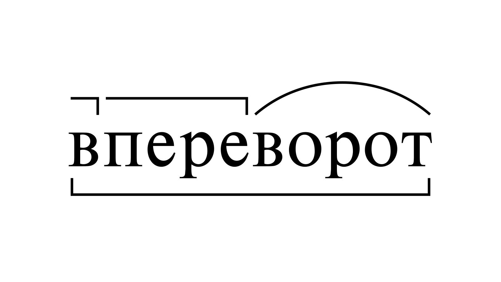 Разбор слова «впереворот» по составу
