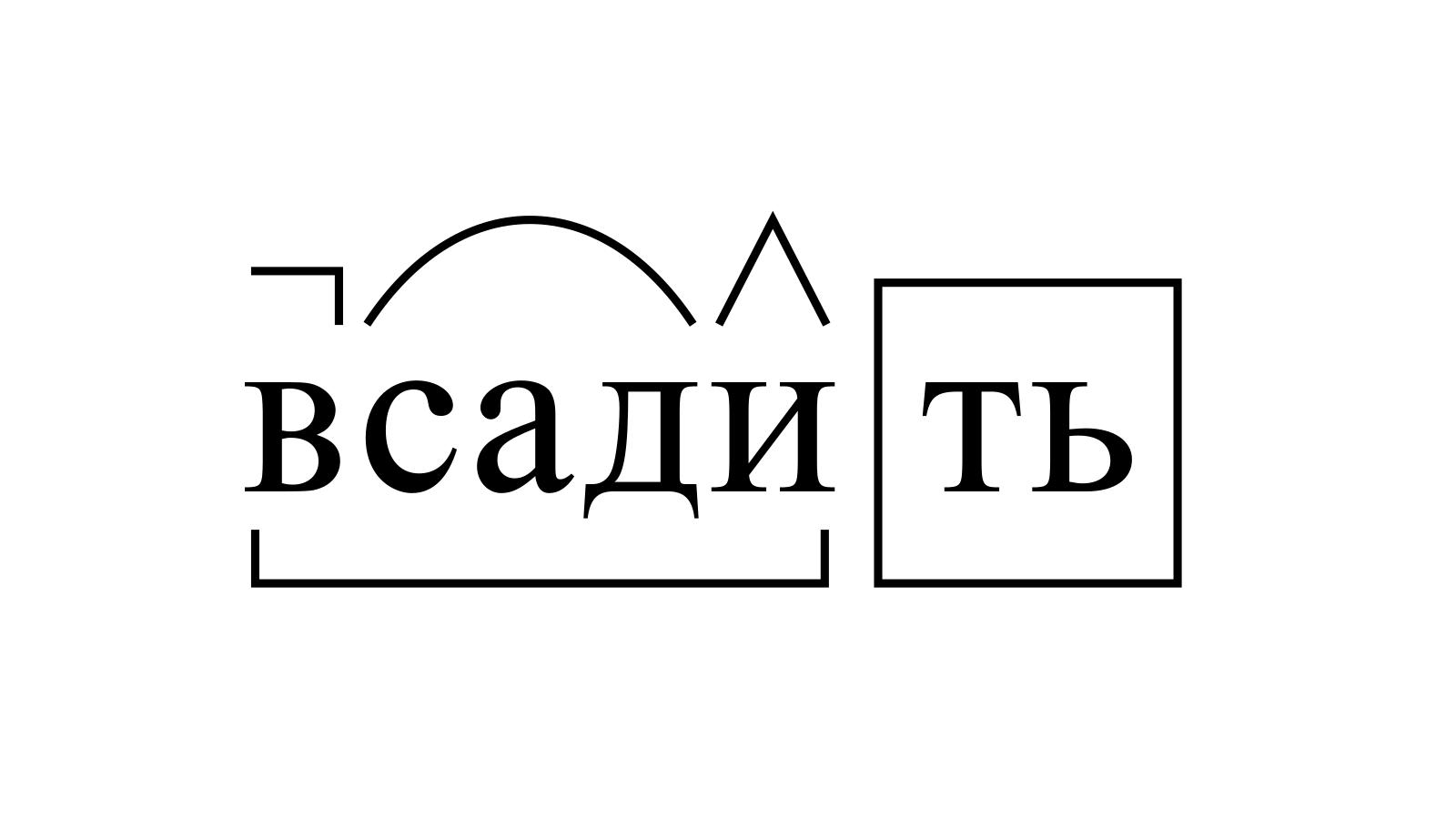 Разбор слова «всадить» по составу