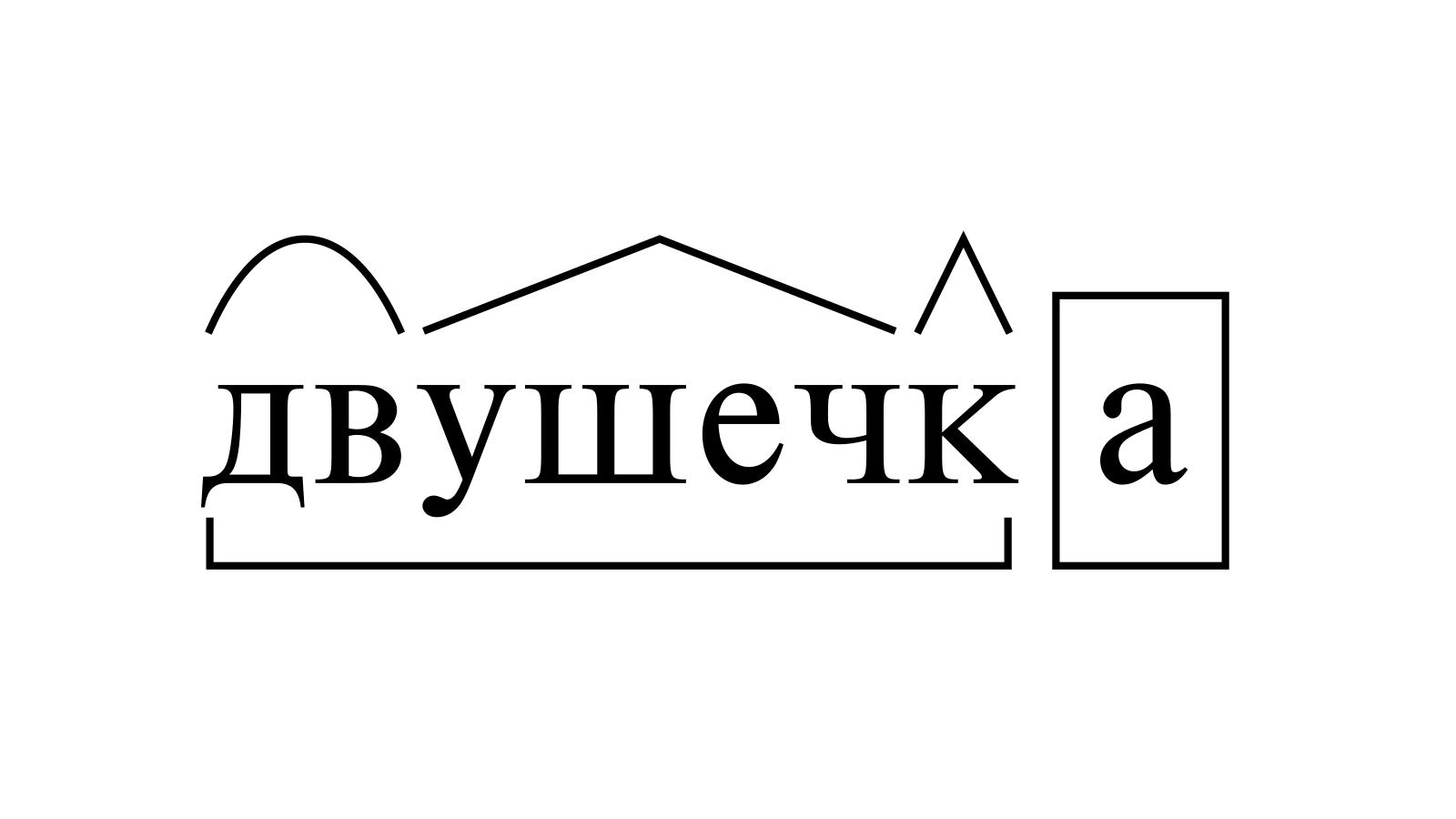 Разбор слова «двушечка» по составу