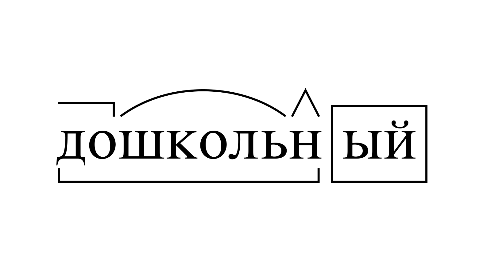Разбор слова «дошкольный» по составу