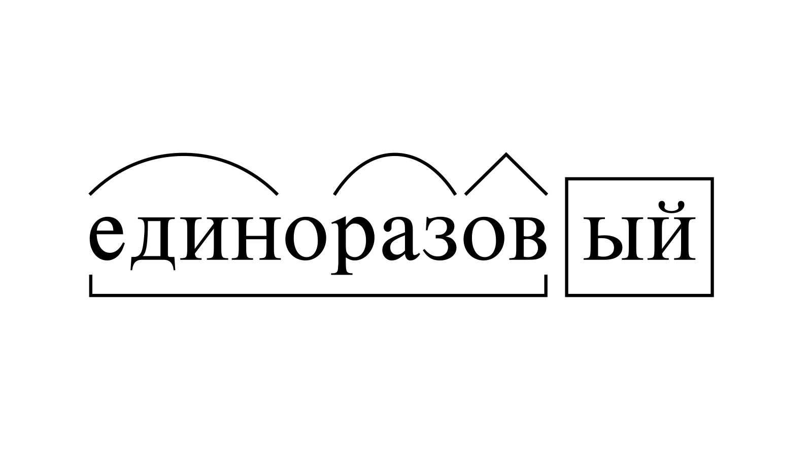 Разбор слова «единоразовый» по составу