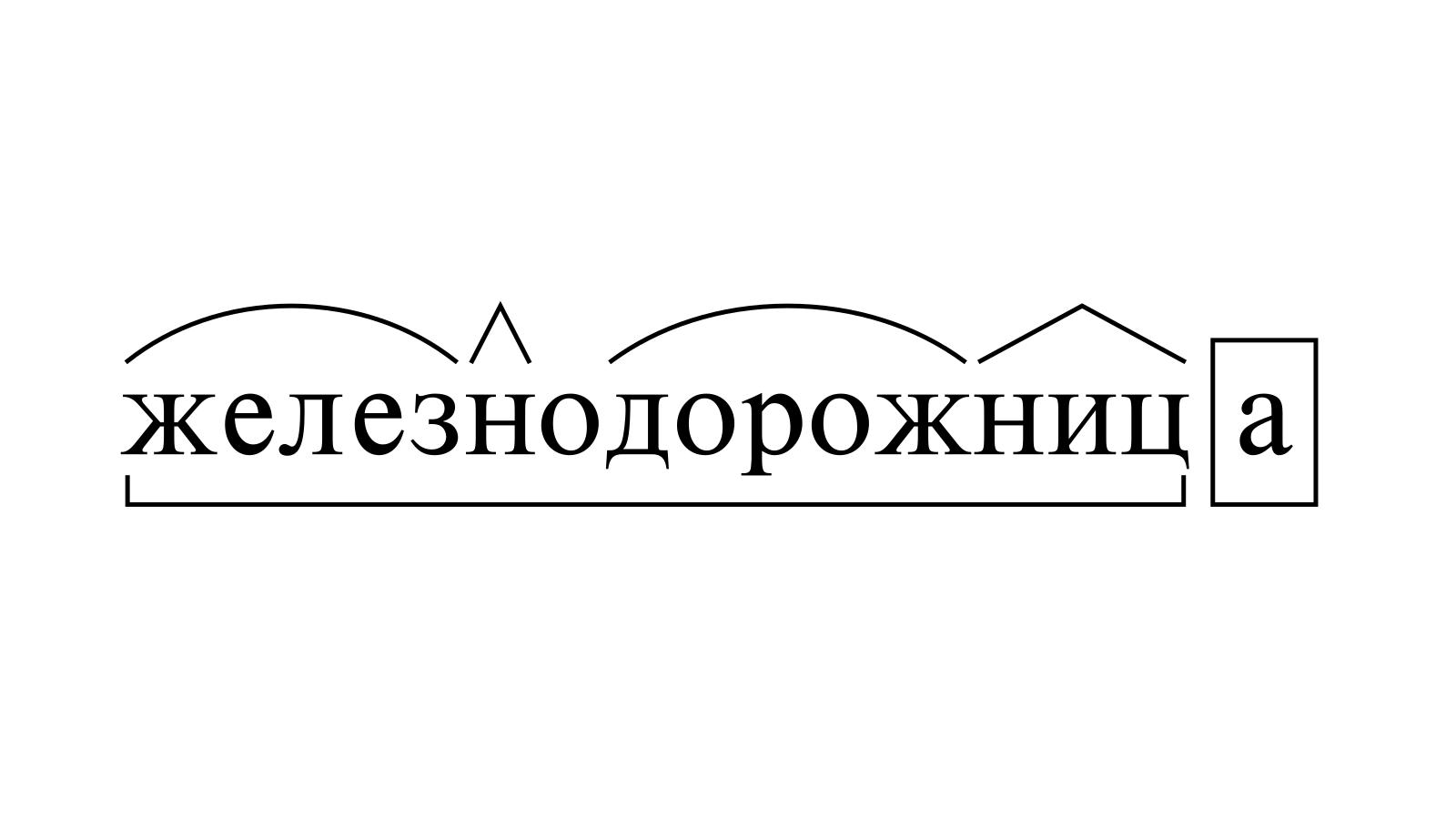 Разбор слова «железнодорожница» по составу
