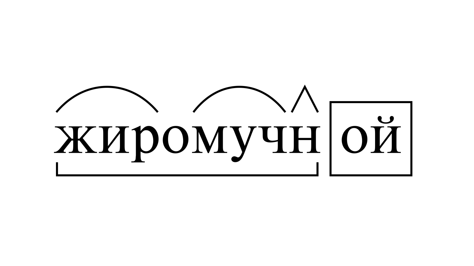 Разбор слова «жиромучной» по составу