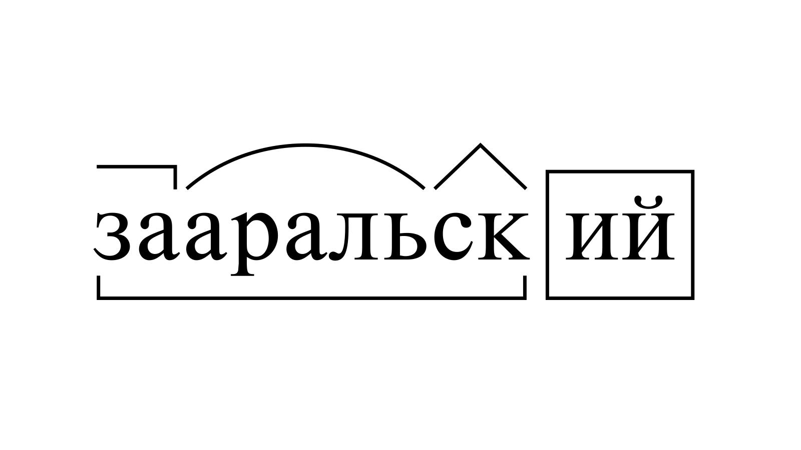 Разбор слова «зааральский» по составу