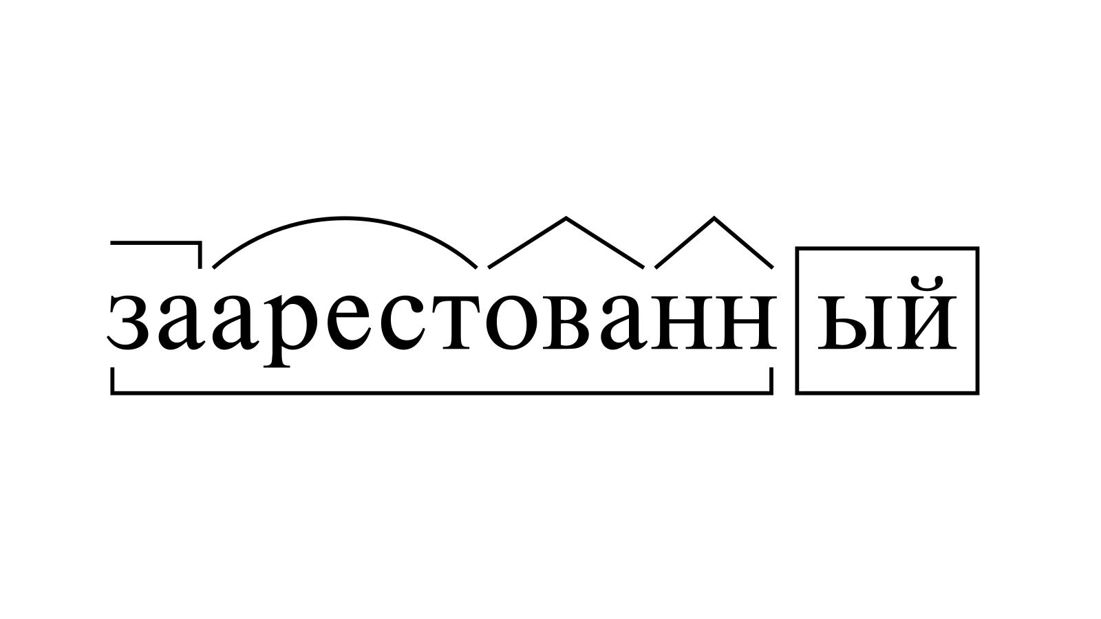 Разбор слова «заарестованный» по составу