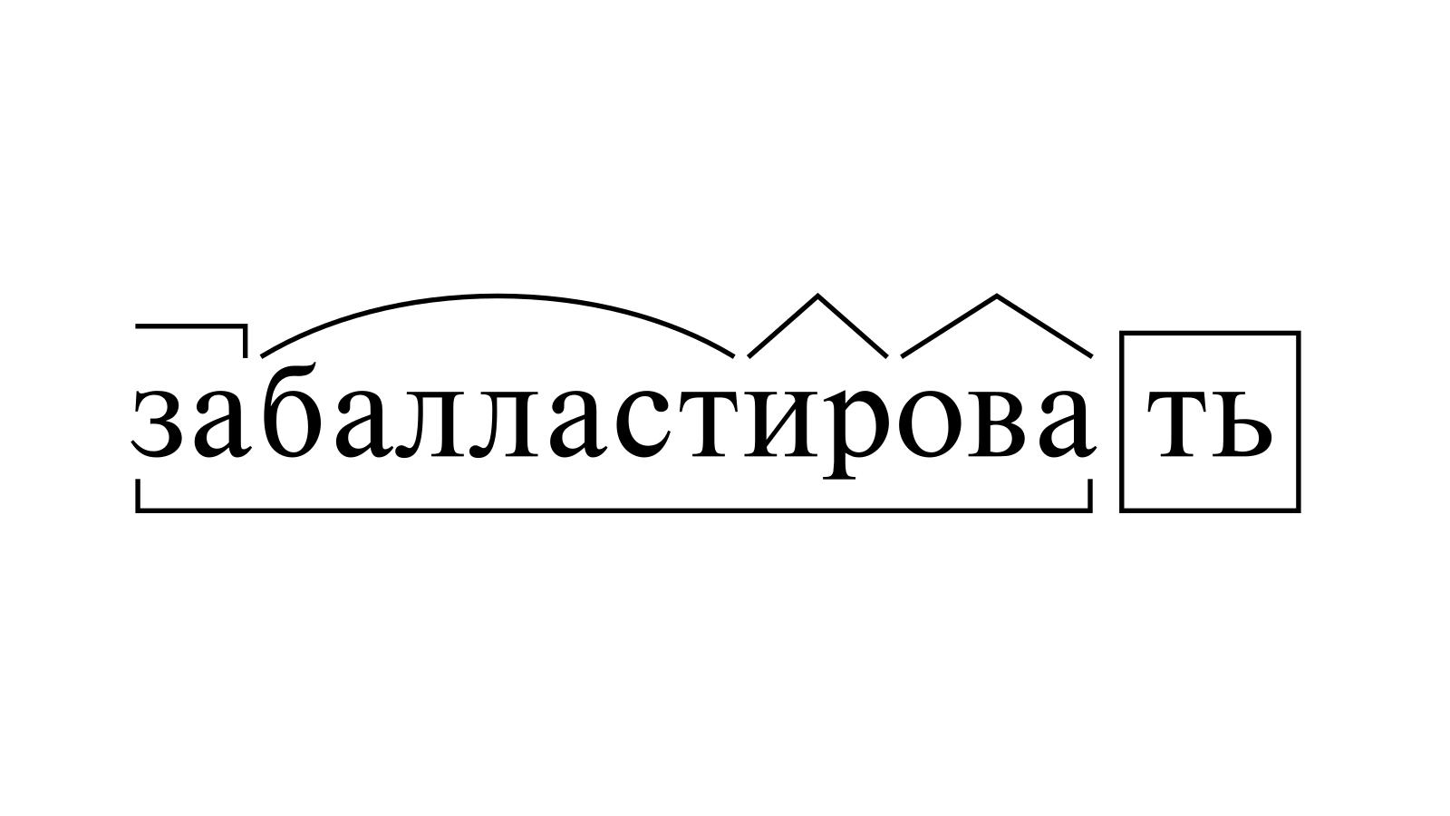 Разбор слова «забалластировать» по составу