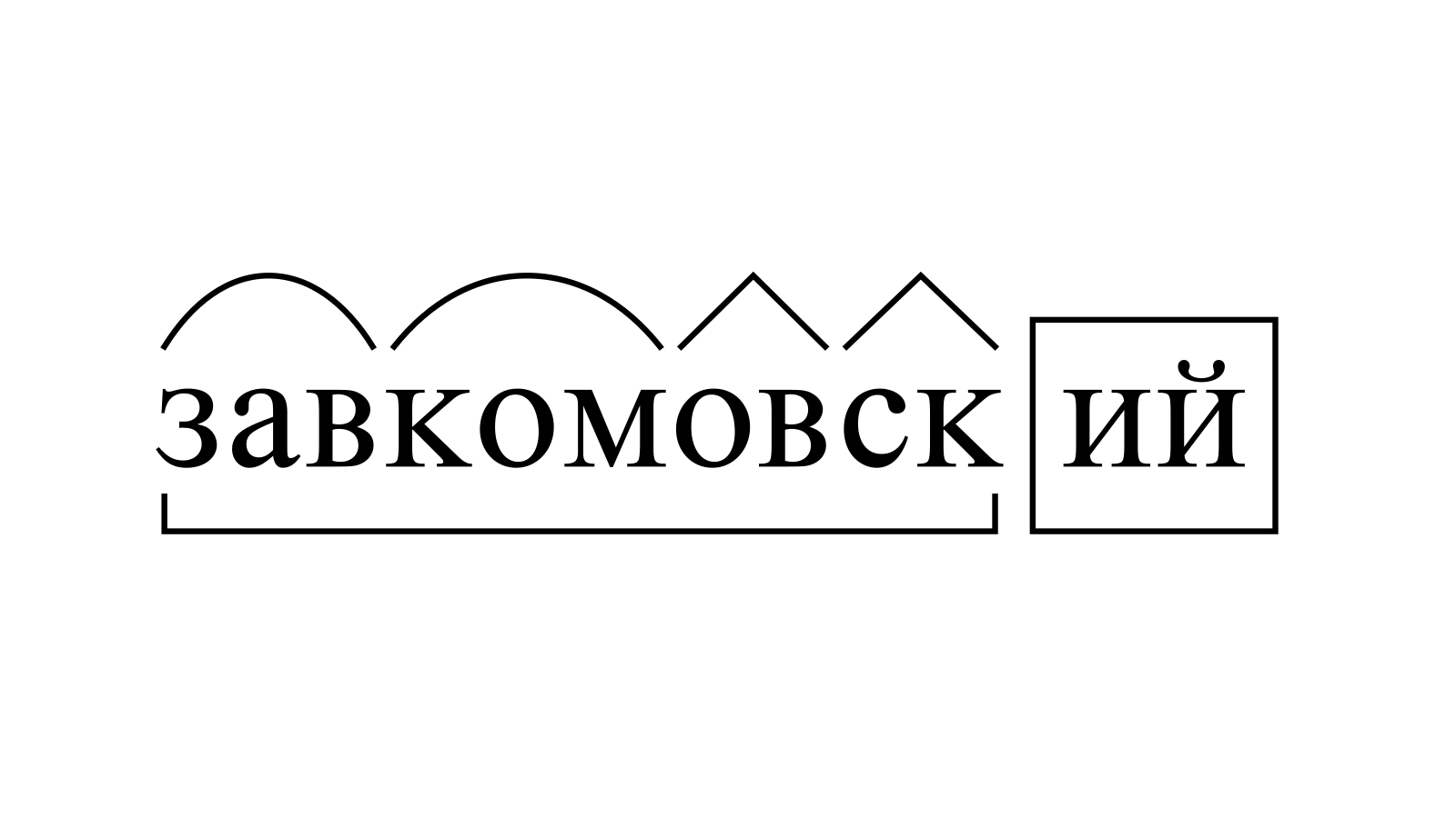 Разбор слова «завкомовский» по составу