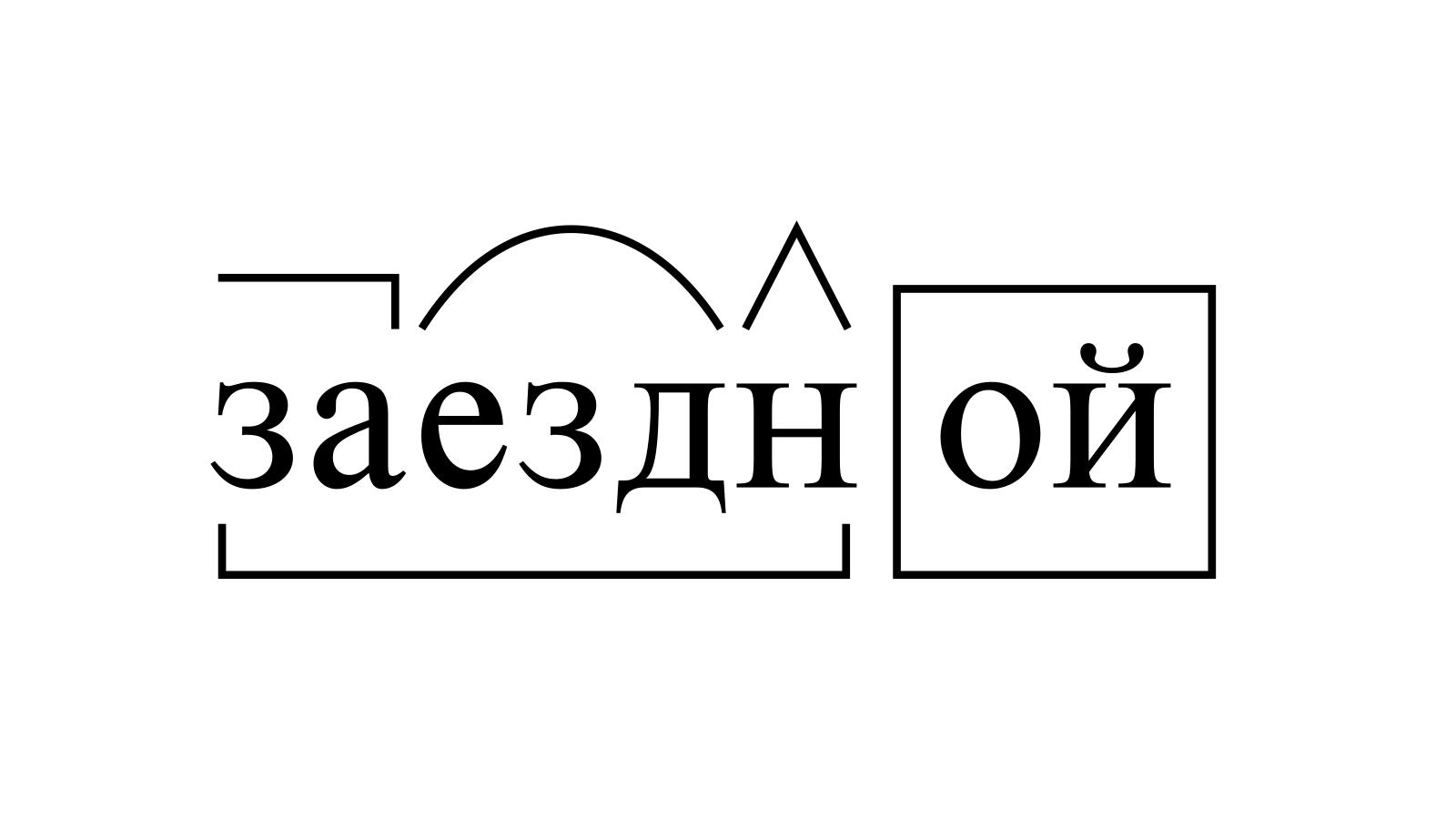 Разбор слова «заездной» по составу