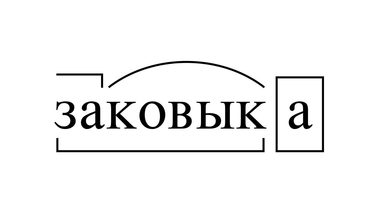 Разбор слова «заковыка» по составу