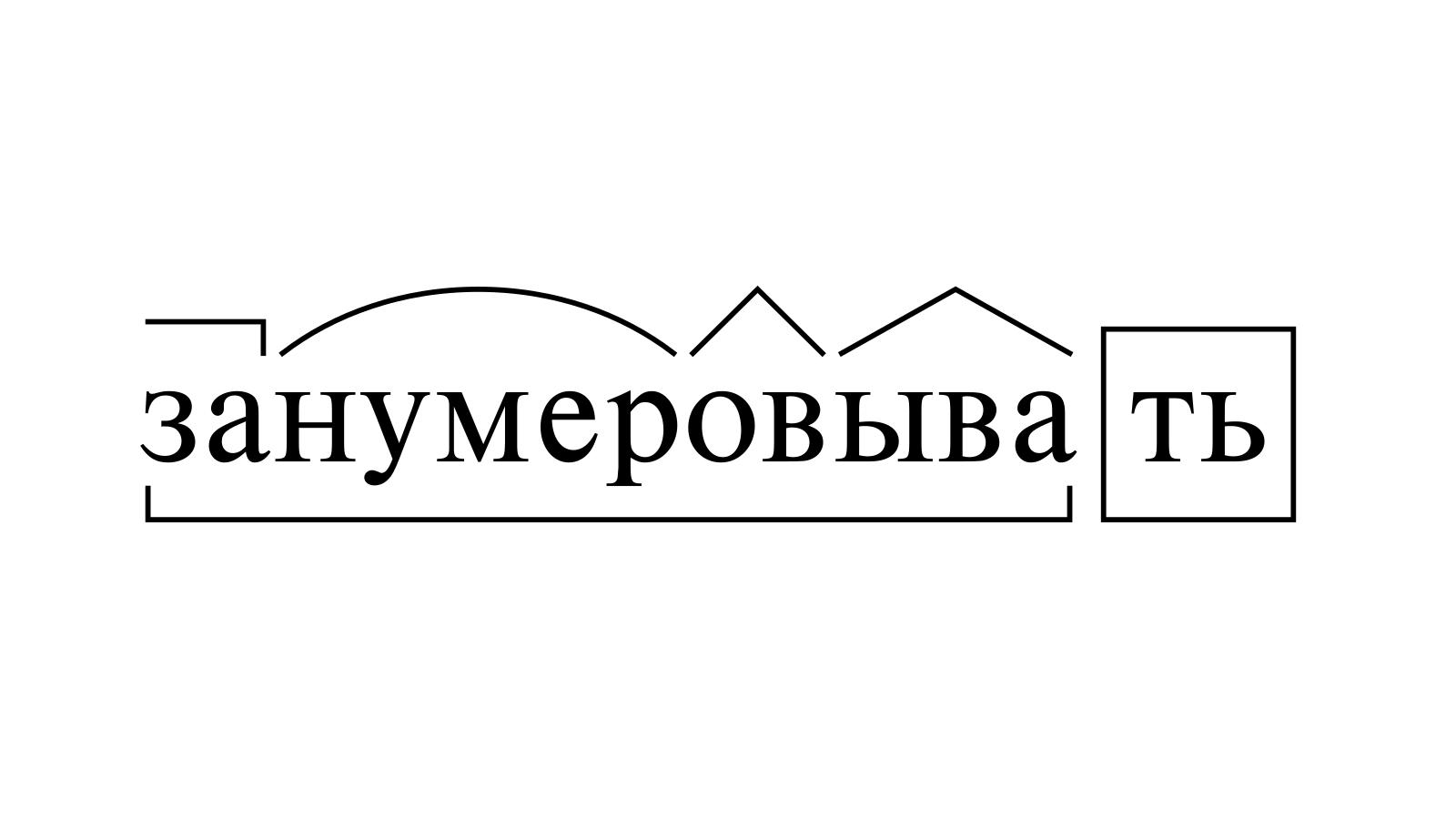 Разбор слова «занумеровывать» по составу