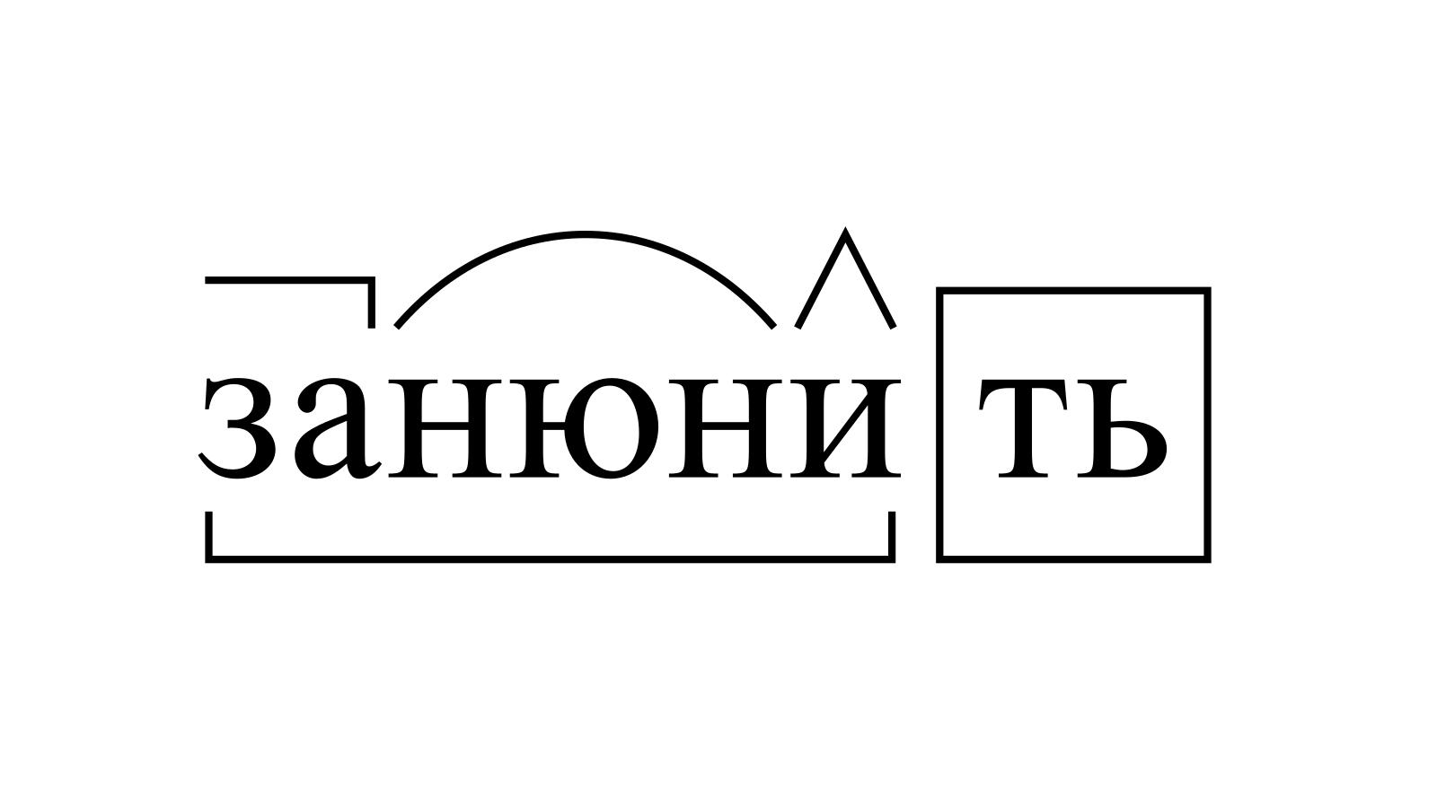 Разбор слова «занюнить» по составу