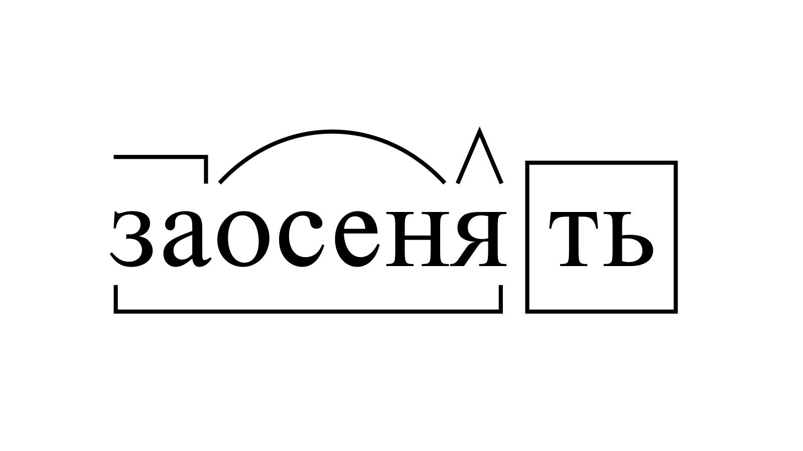 Разбор слова «заосенять» по составу
