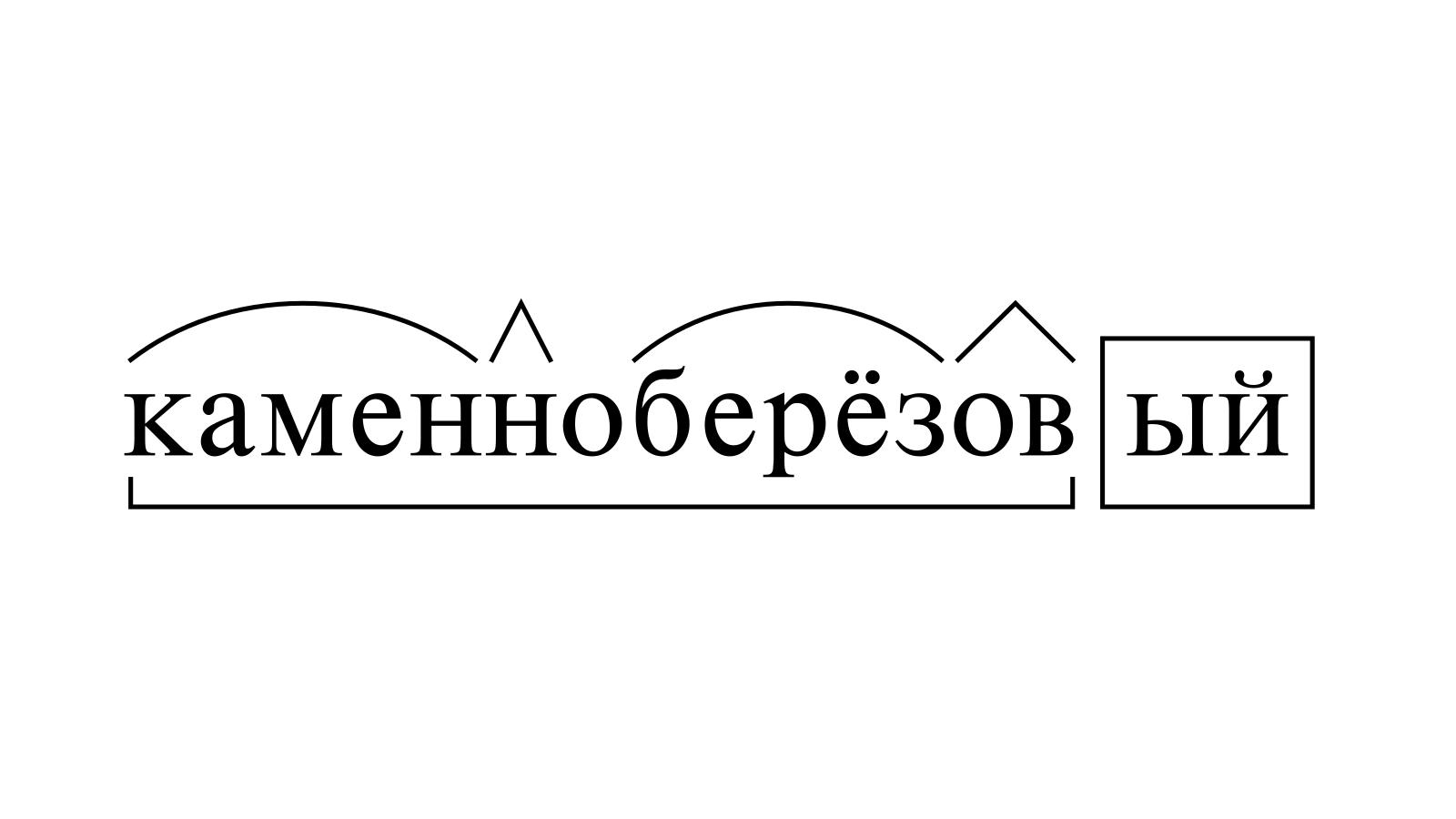 Разбор слова «каменноберёзовый» по составу