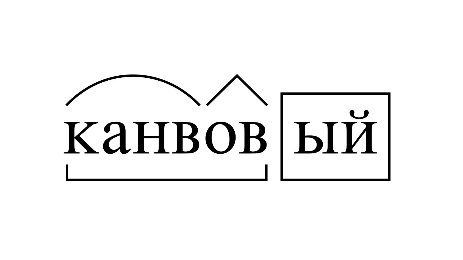 Разбор слова «канвовый» по составу